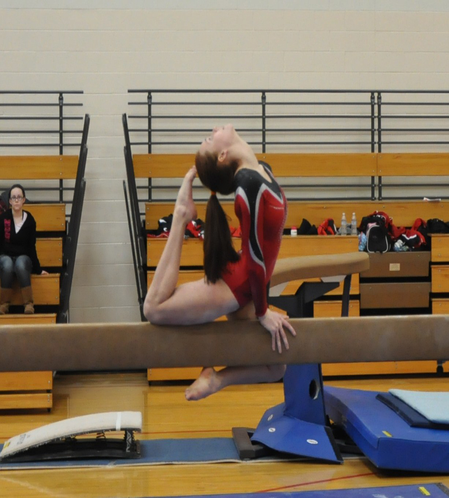 Kaezi Bladey was third overall in ther all around at the Lowell Invitational.